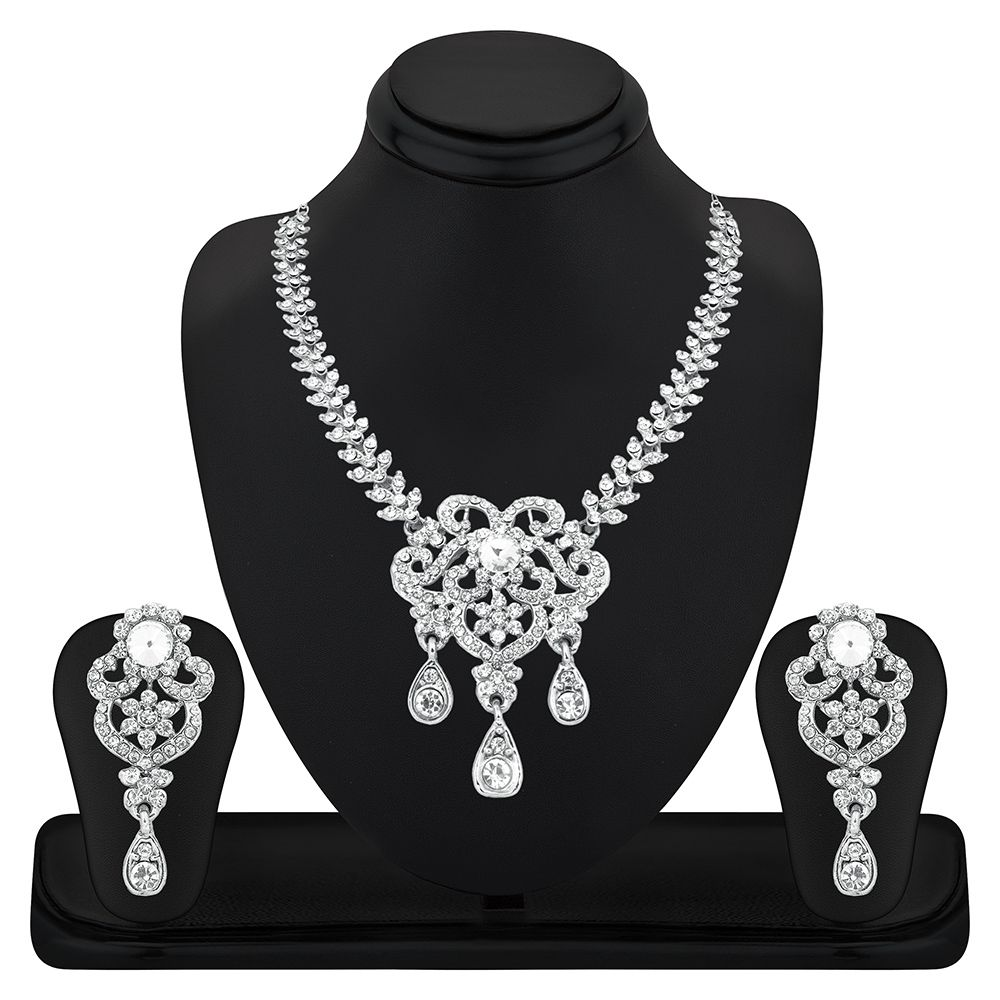 RG Fashions White Zinc Necklace Set
