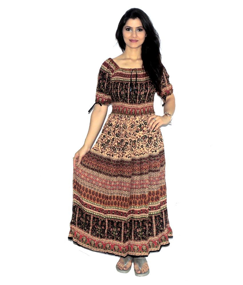 Indian Fashion Guru Multi Color Rayon Maxi Dress - Buy Indian ...