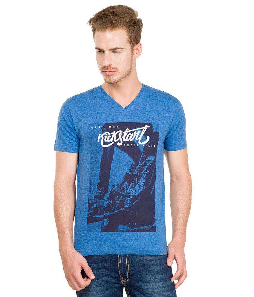 Locomotive Blue V-Neck T Shirt