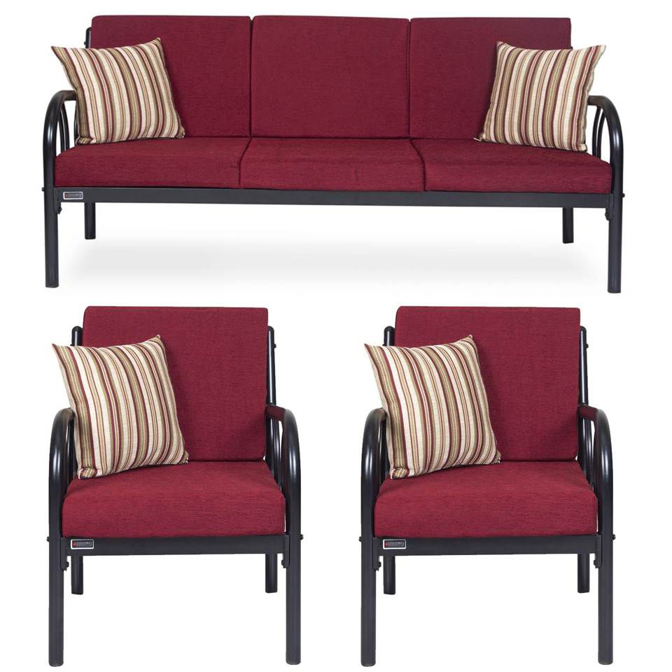 Furniturekraft Metal 3 1 Sofa Set Maroon