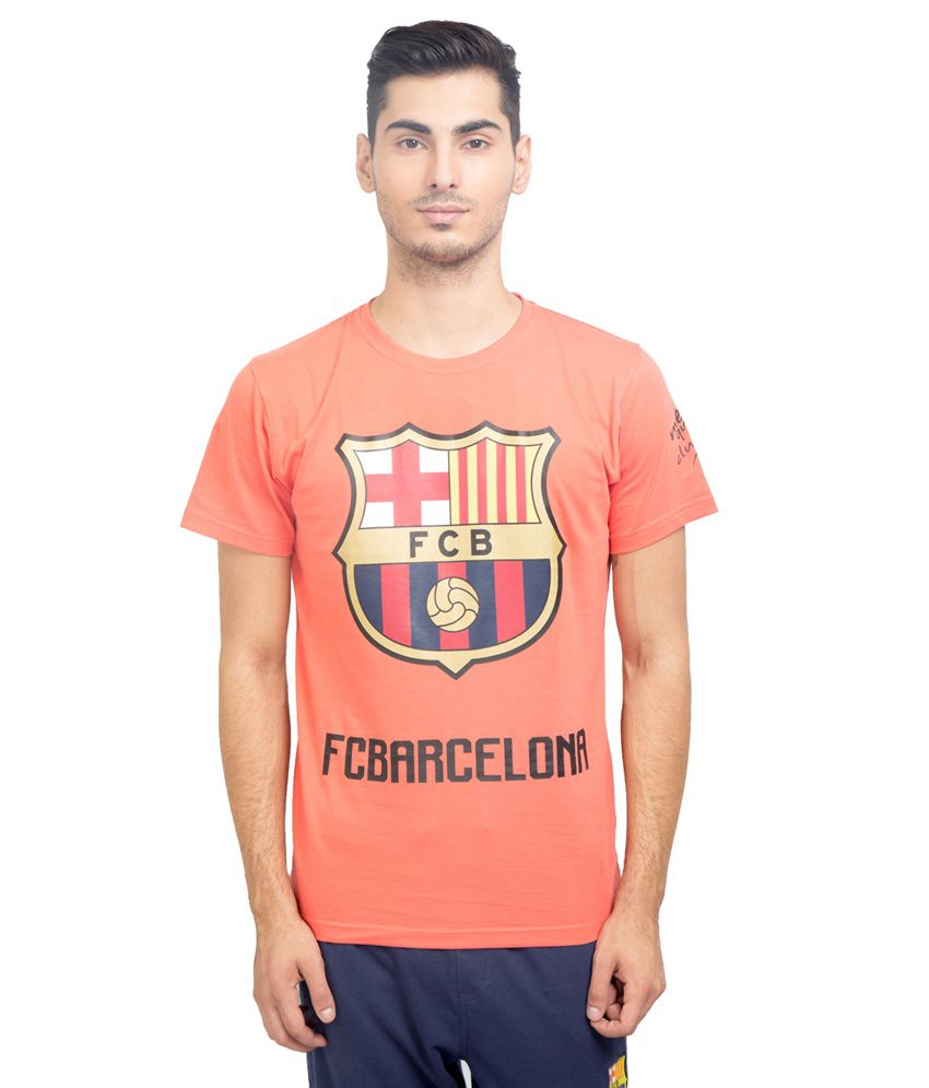 FC Barcelona Orange Round T Shirt
