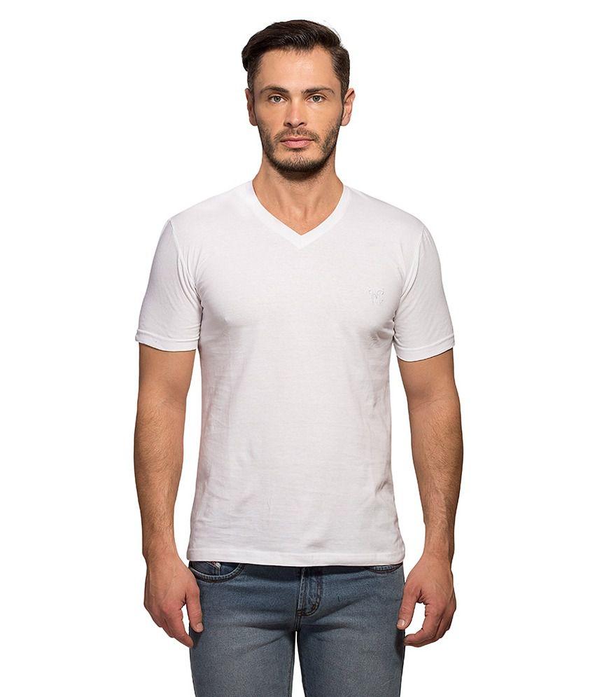 Maniac White V-Neck T Shirt