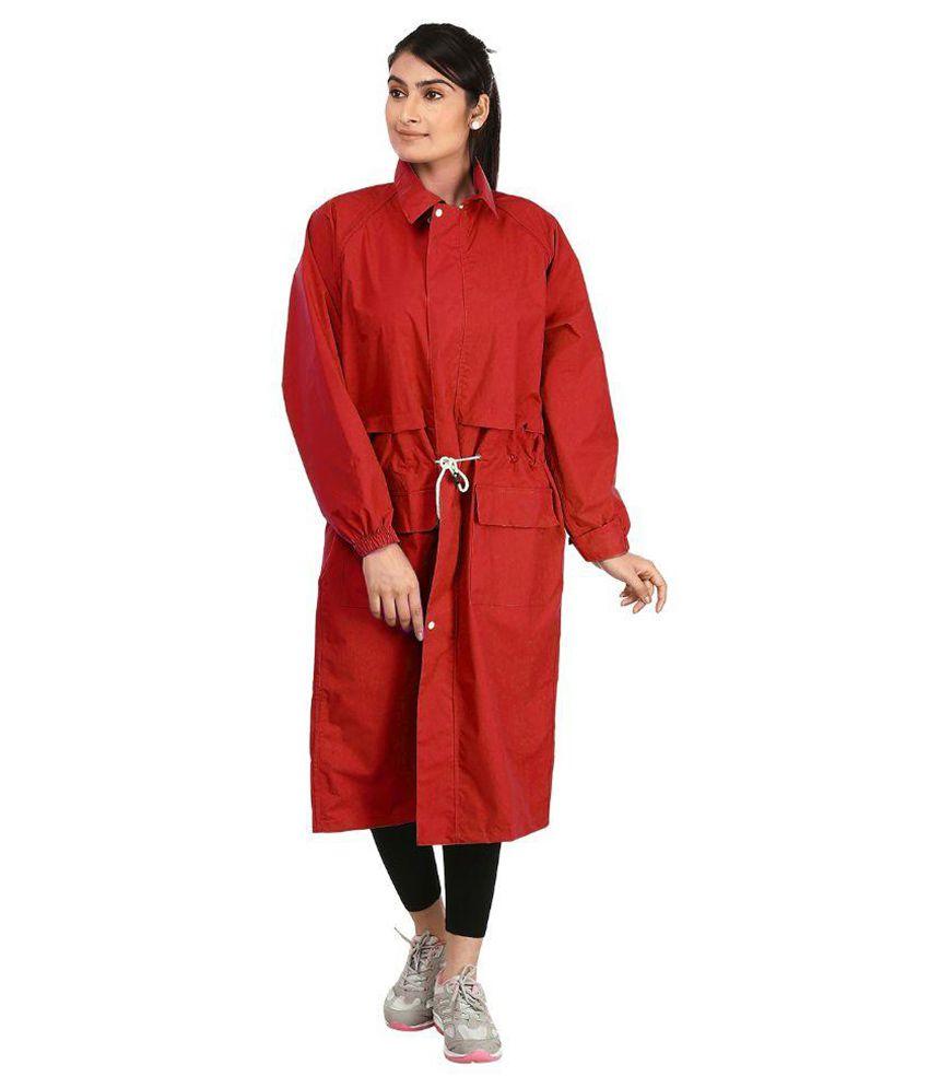Rainfun Red Waterproof Nylon Long Raincoat