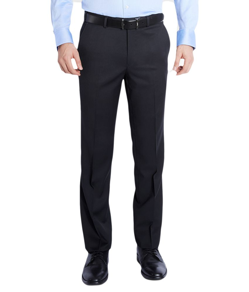 Raymond Black Regular Fit Flat Trousers
