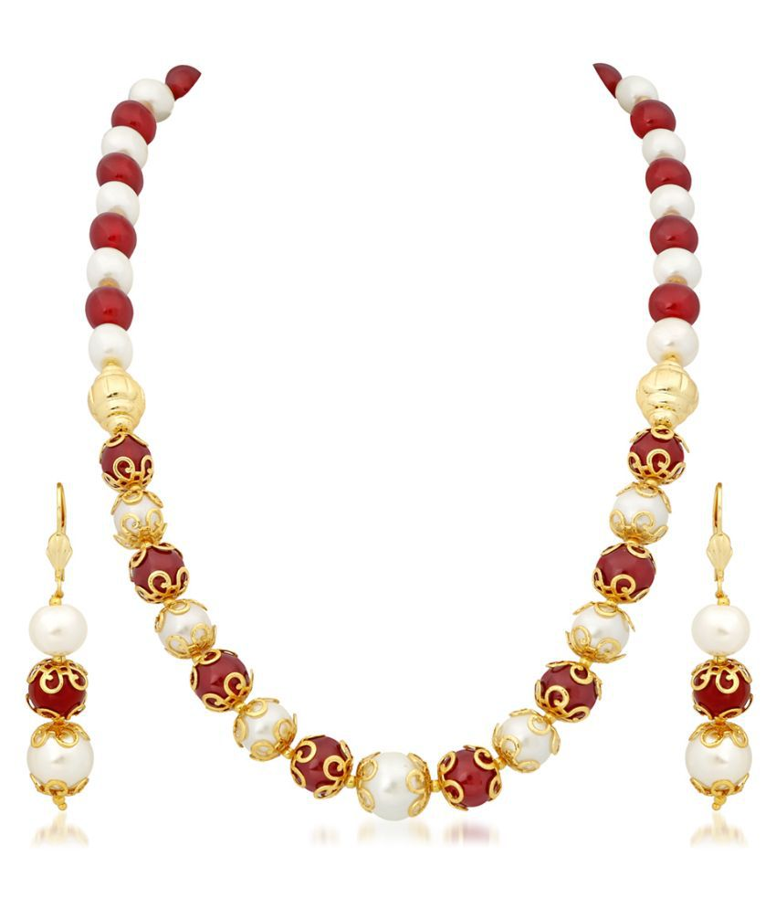 Single Line Beads: RG Fashions Beads Gold Plating Beads Studded Multi