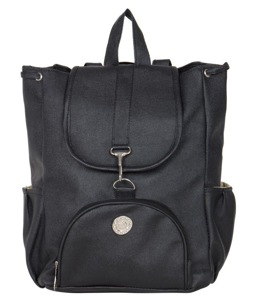 Relevant Yield Black Faux Leather Backpack