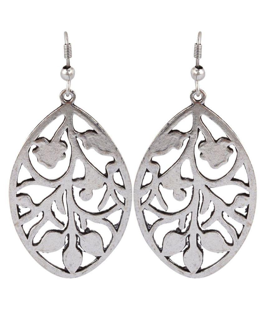 Waama Jewels Brass Studded Silver Coloured Earrings