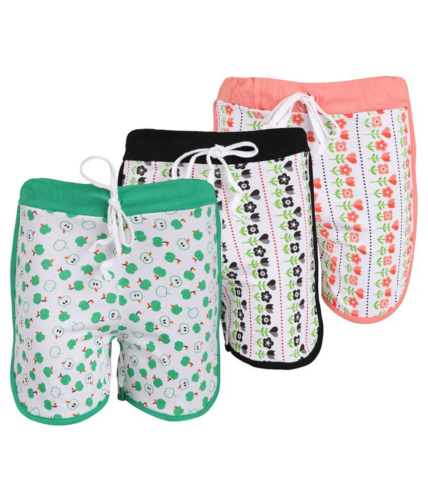 Weecare Multicolor Shorts For Girls - Pack Of 3