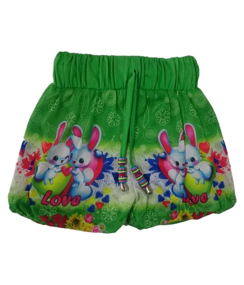 pink&white green color digital print shorts