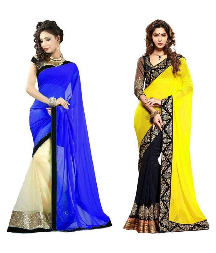 LF Designer Multicoloured Georgette Saree Combos