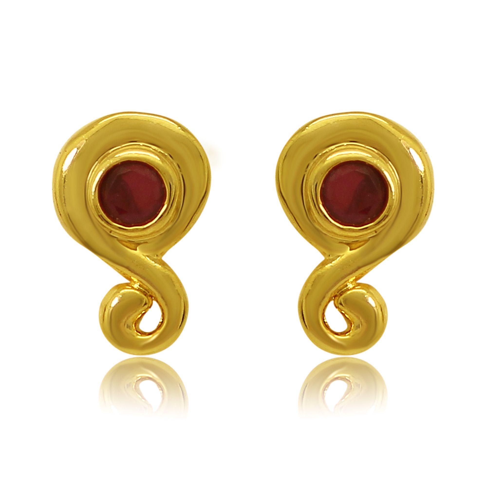 Mahi Alloy Gold Plating Cubiz Zirconia Studded Gold Coloured Earrings