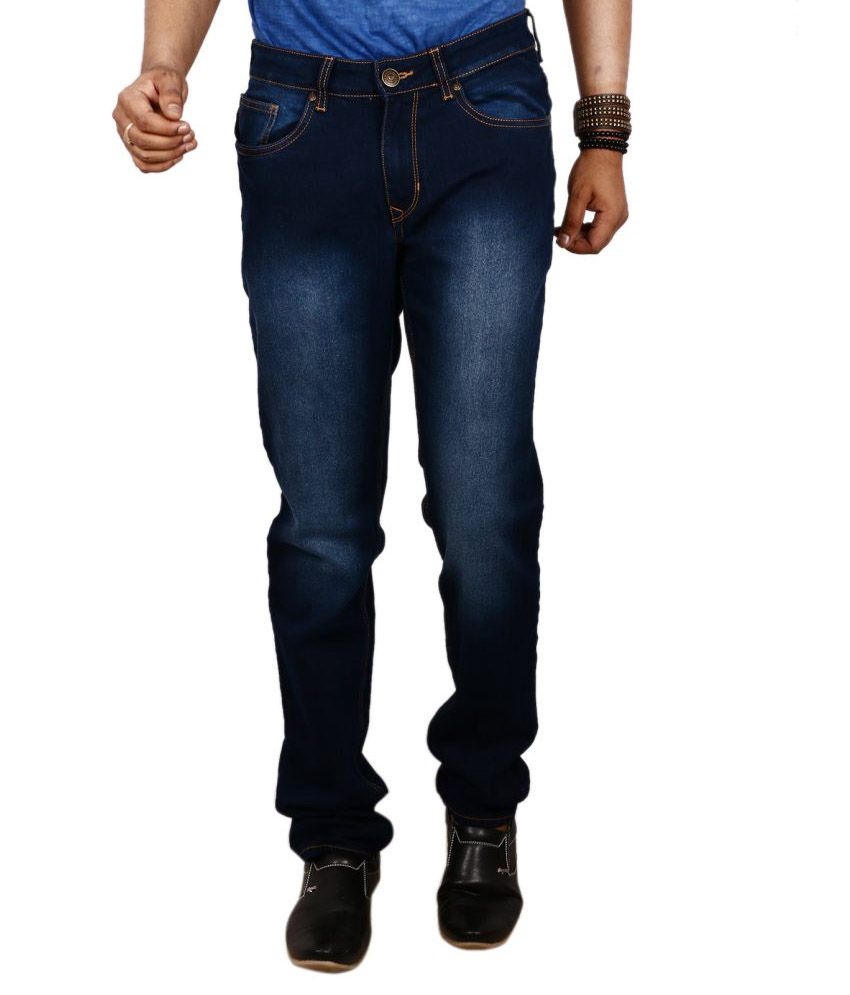 Red Tape Navy Regular Fit Faded Jeans