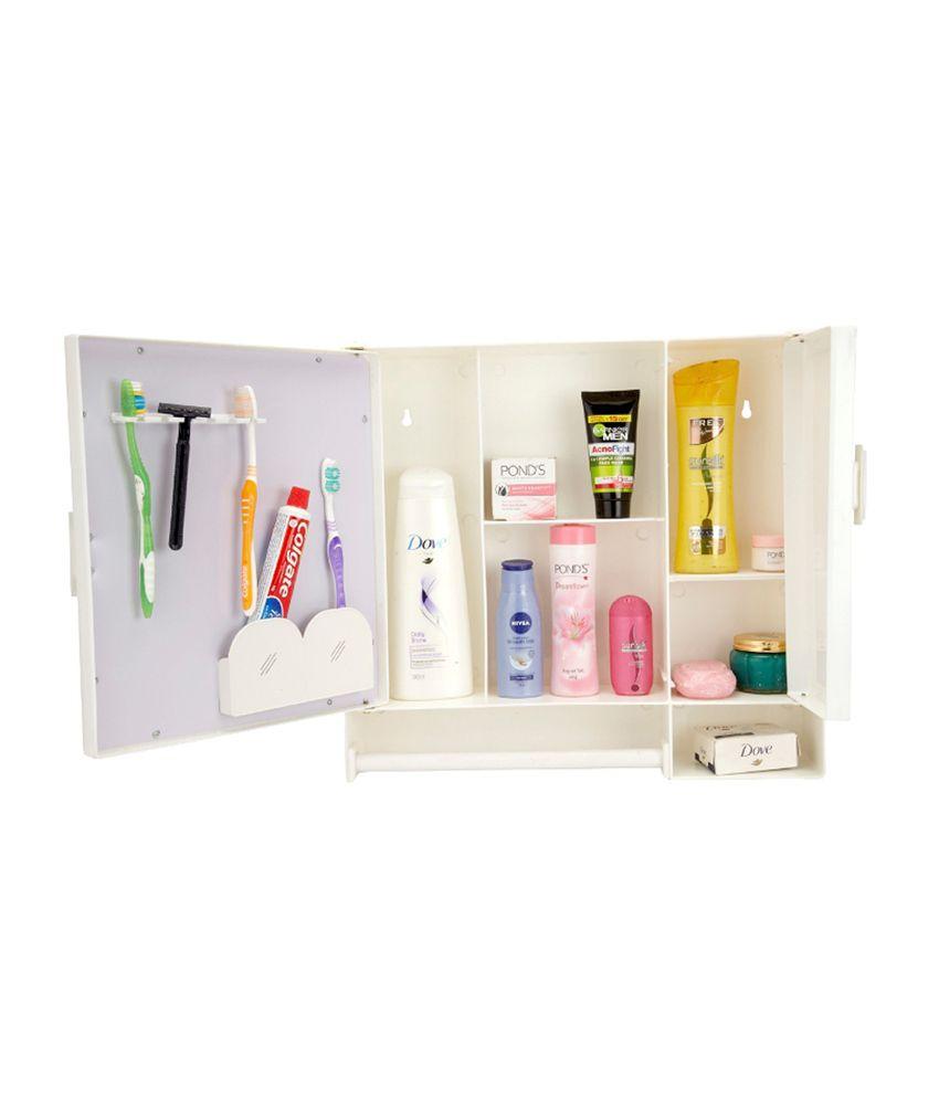 Buy zahab two door action plastic bathroom cabinet white for Zahab bathroom cabinets