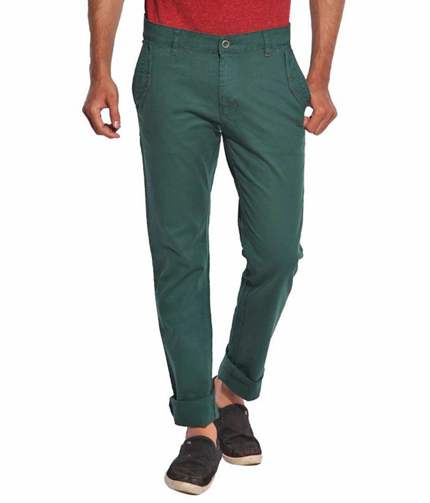 Inego Green Slim Fit Chinos - Pack of 2