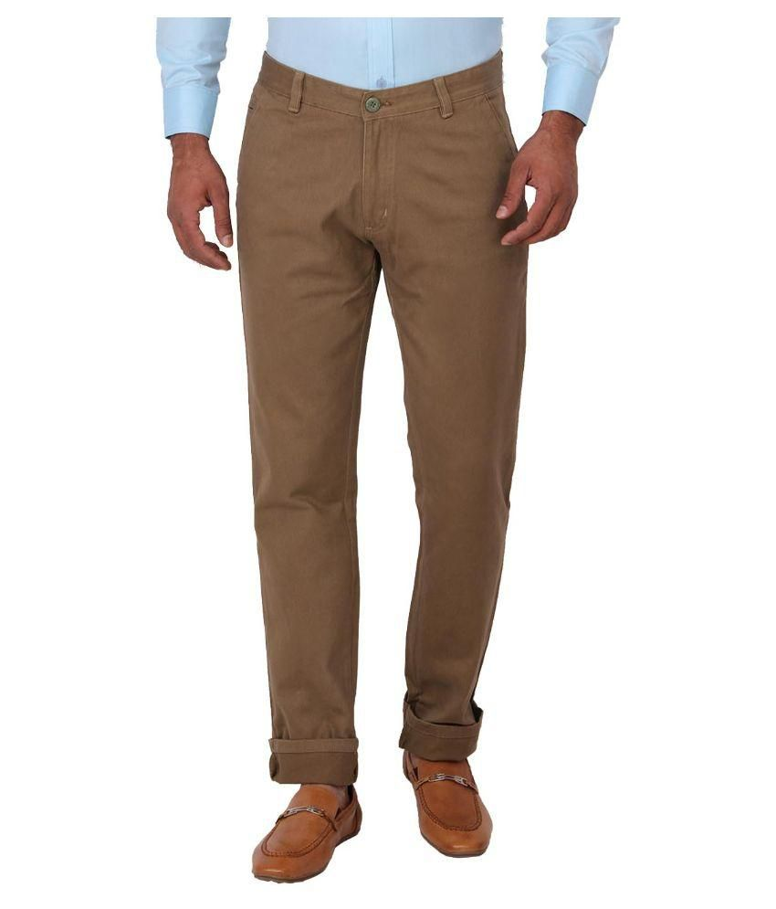 Sliver Tags Brown Regular Fit Chinos