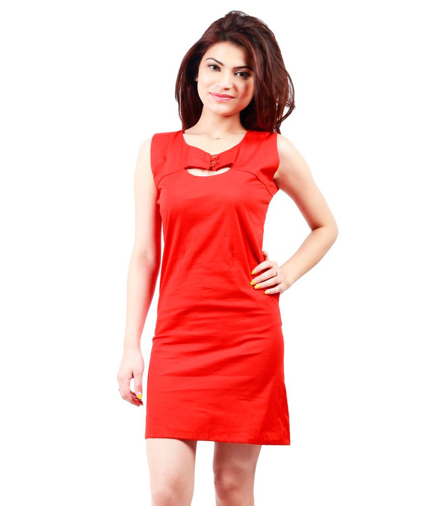 Vimlon Red Cotton Dresses