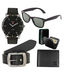 Lime Multicolour Combo Of Leather Wallet, Belt, Watch, Sunglasses And Cardholder for Men