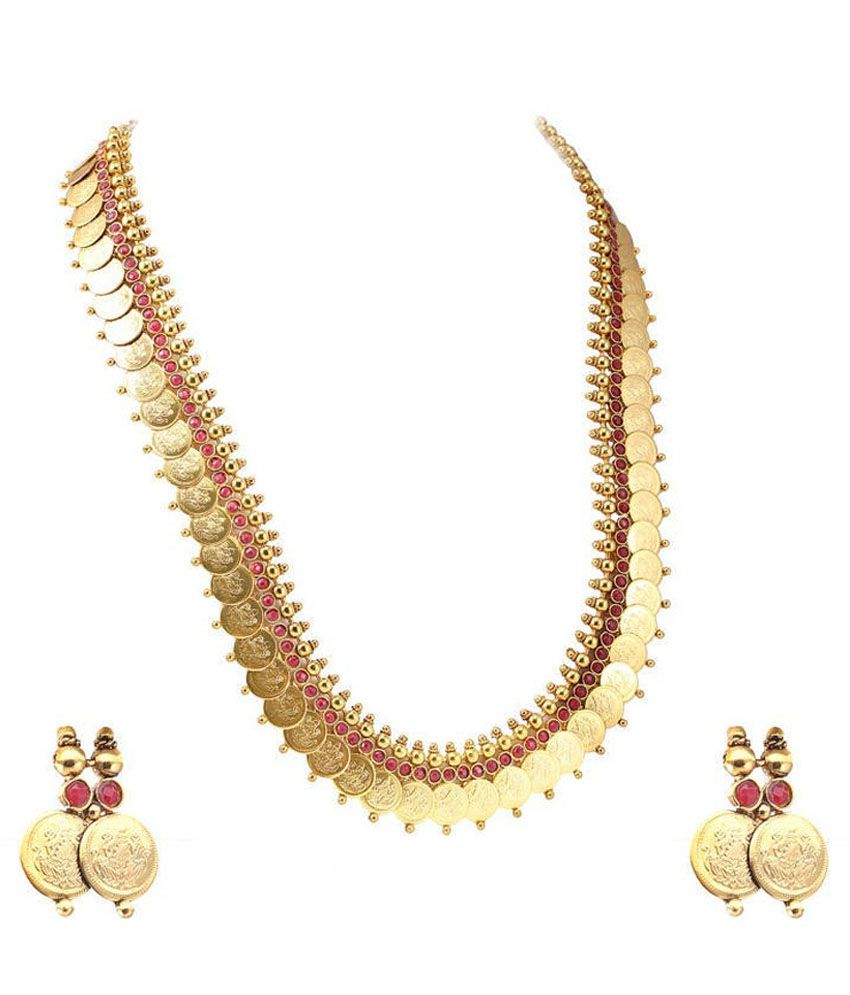 Youbella Alloy Gold Plating Polki Studded Gold Coloured Necklaces Set