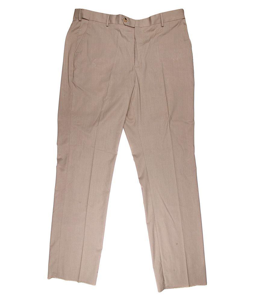 Alto Moda By Pantaloons Khaki Slim Fit Trousers