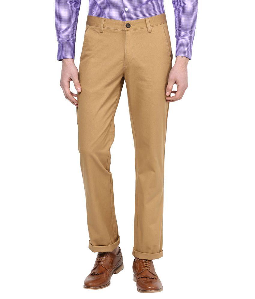 Byford By Pantaloons Khaki Regular Fit Trousers