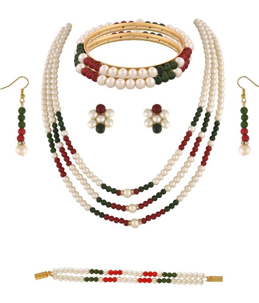 Classique Designer Jewellery Multicolour Pearl Necklace Set