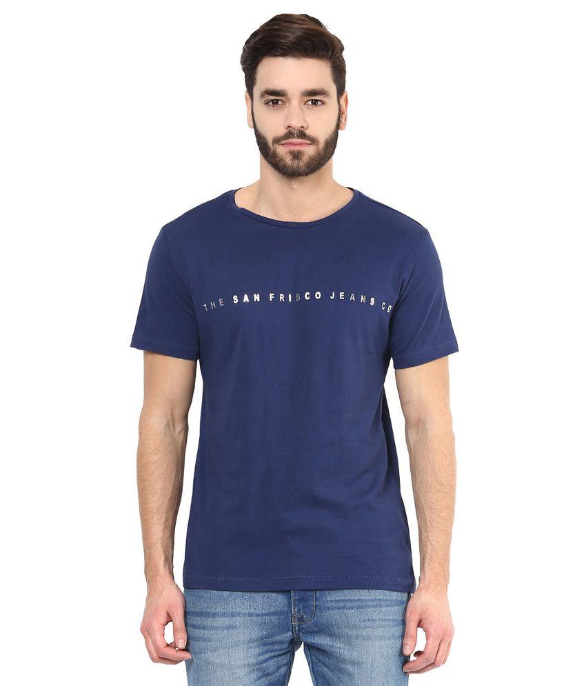 SF Jeans By Pantaloons Blue V-Neck T Shirt