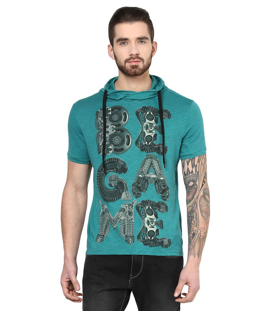 SF Jeans By Pantaloons Green Hooded Neck T Shirt