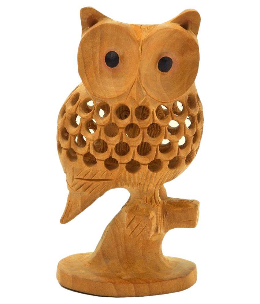Shreemangalammart Good Luck Sign Wooden Owl Showpiece