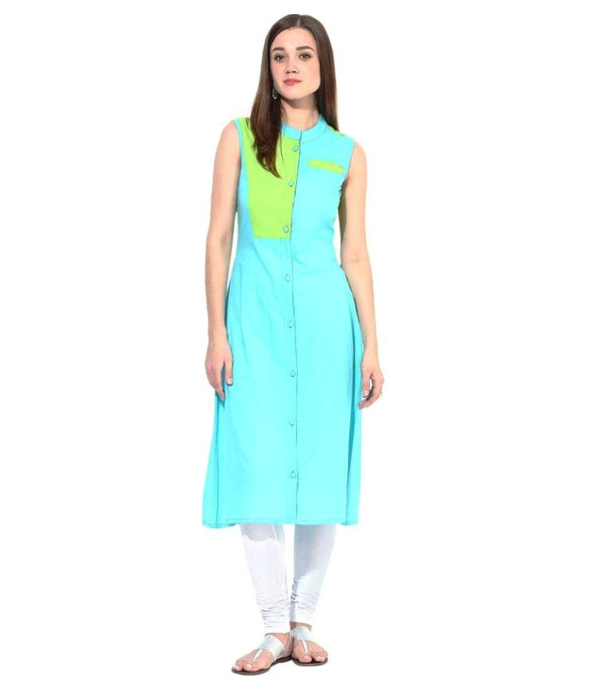 Ds Creation Turquoise Cotton Shirt style Kurti