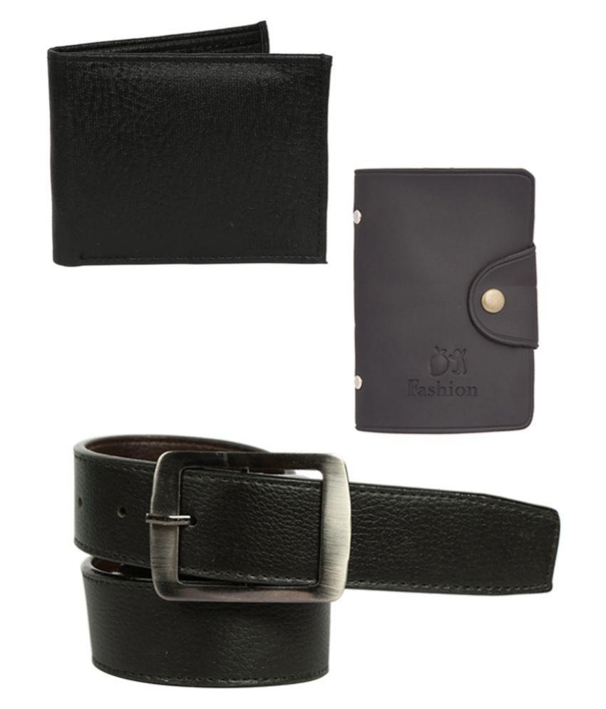 Mango people Combo of belt and wallet with Leatherite cardholder for Men