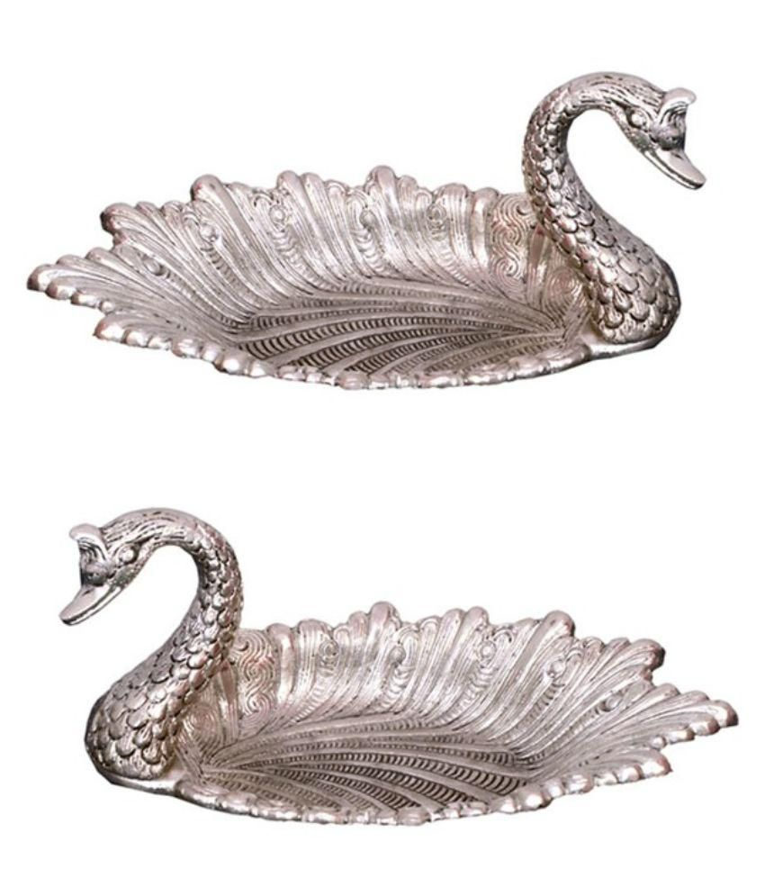 RCI Handicrafts White Silver Metal Duck - Pack Of 2