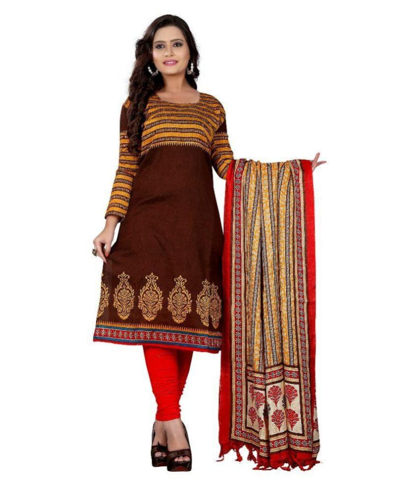 Sahajanand Brown Art Silk Straight Kurti