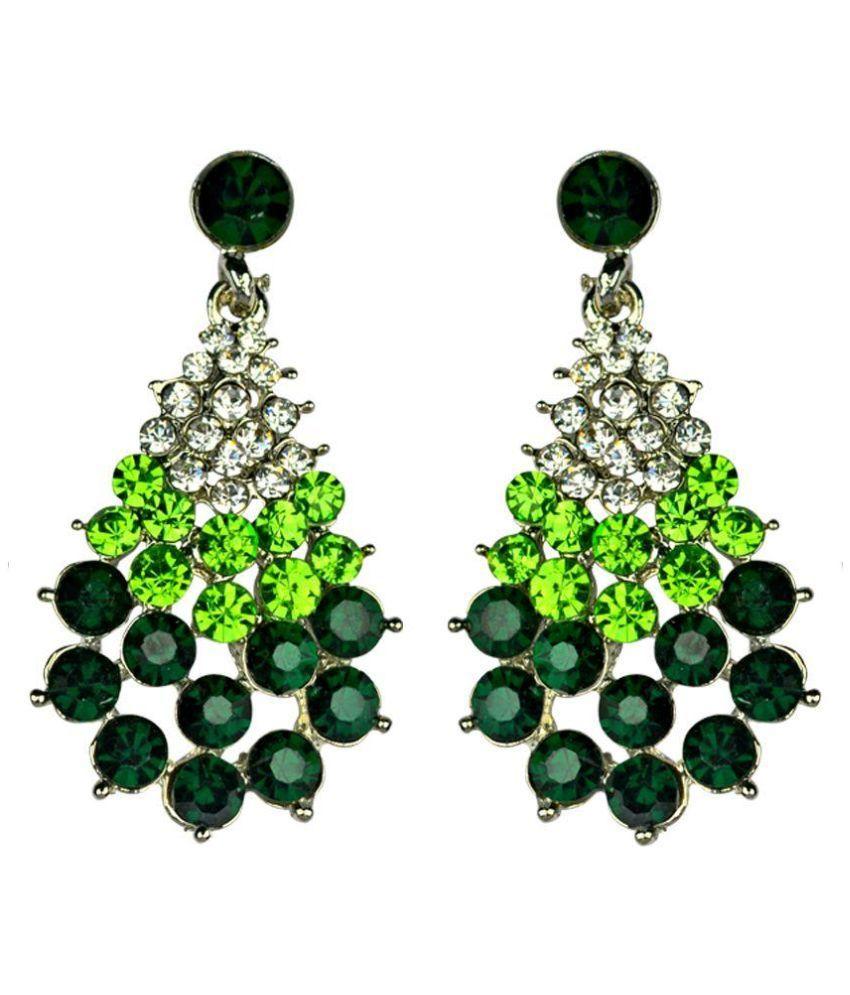 Glitters Online Green Stone American Diamond  Fashion Earring