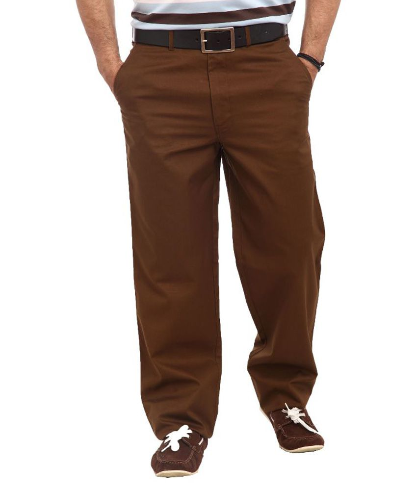 Colorplus Brown Regular Fit Flat Trousers