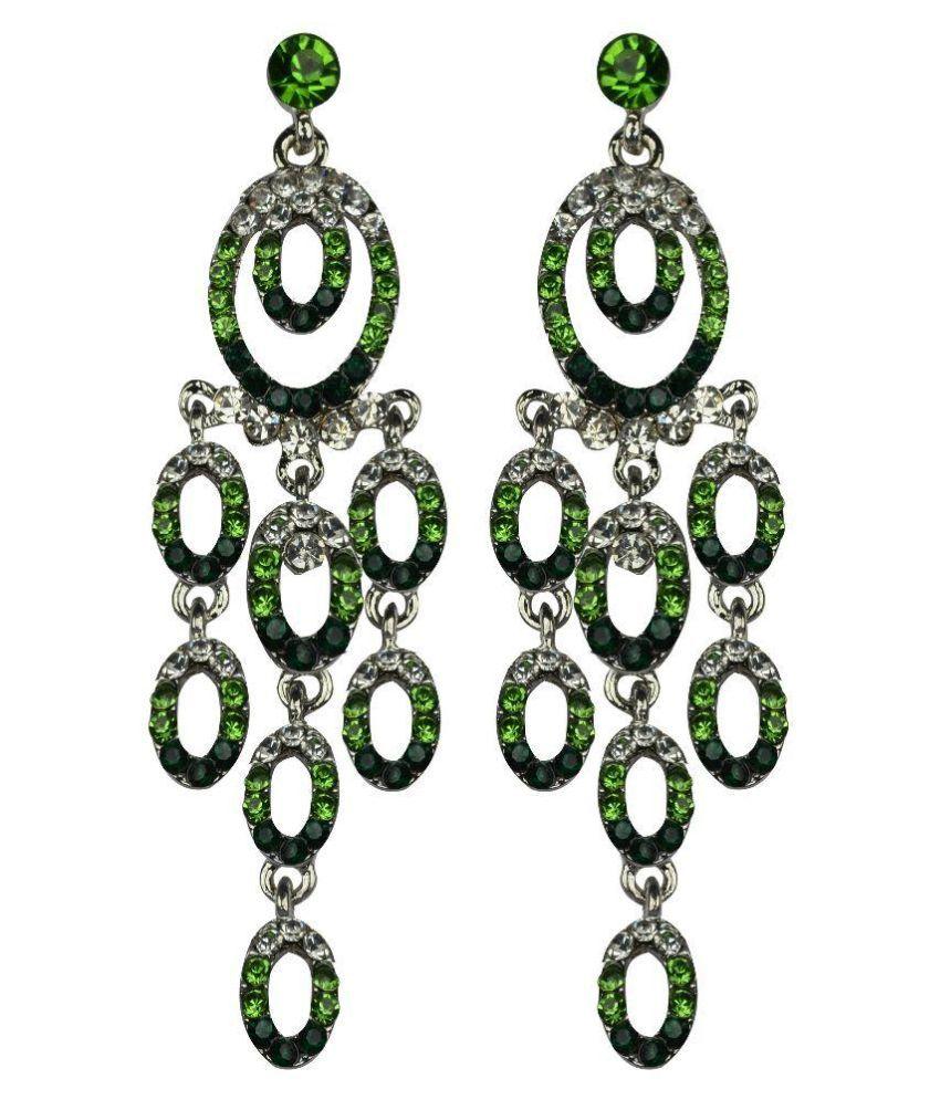 Glitters Online Green Alloy Hanging Earrings