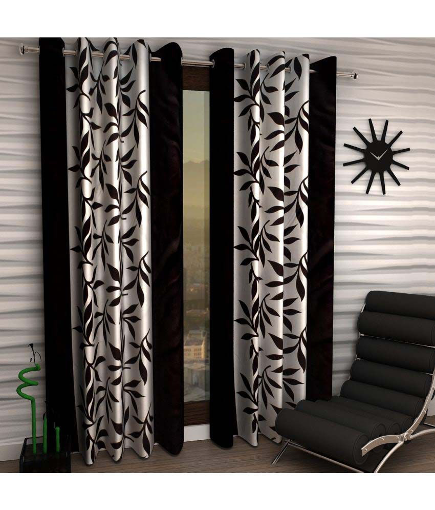 Home Sizzler Set Of 2 Door Eyelet Curtains Black Floral Buy Home Sizzler Set Of 2 Door Eyelet