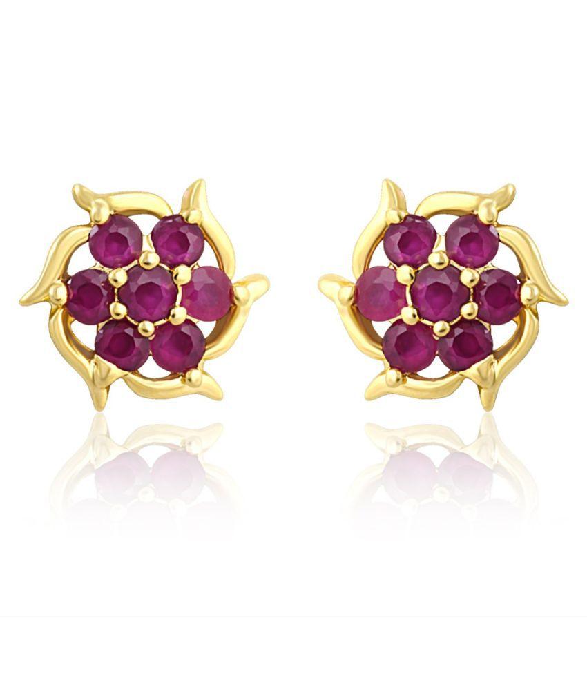 Mahi Brass Gold Plating Cubiz Zirconia Studded Purple Coloured Earrings
