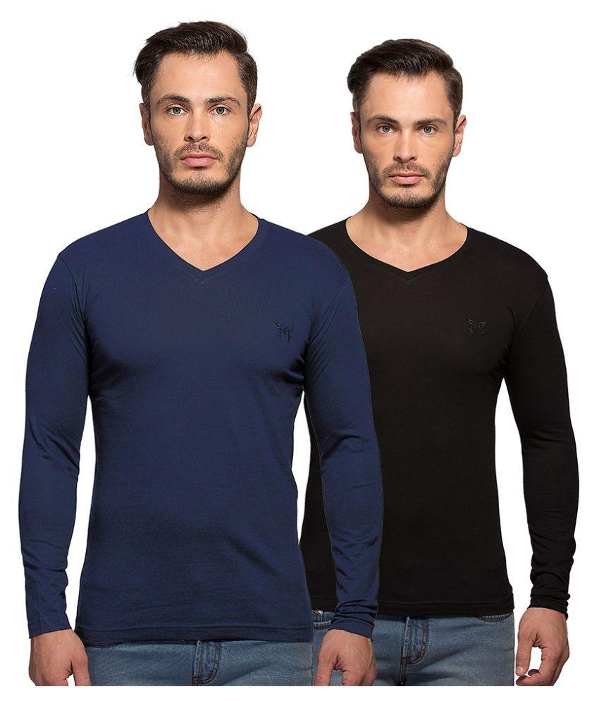 Maniac Multi V-Neck T Shirt Pack of 2