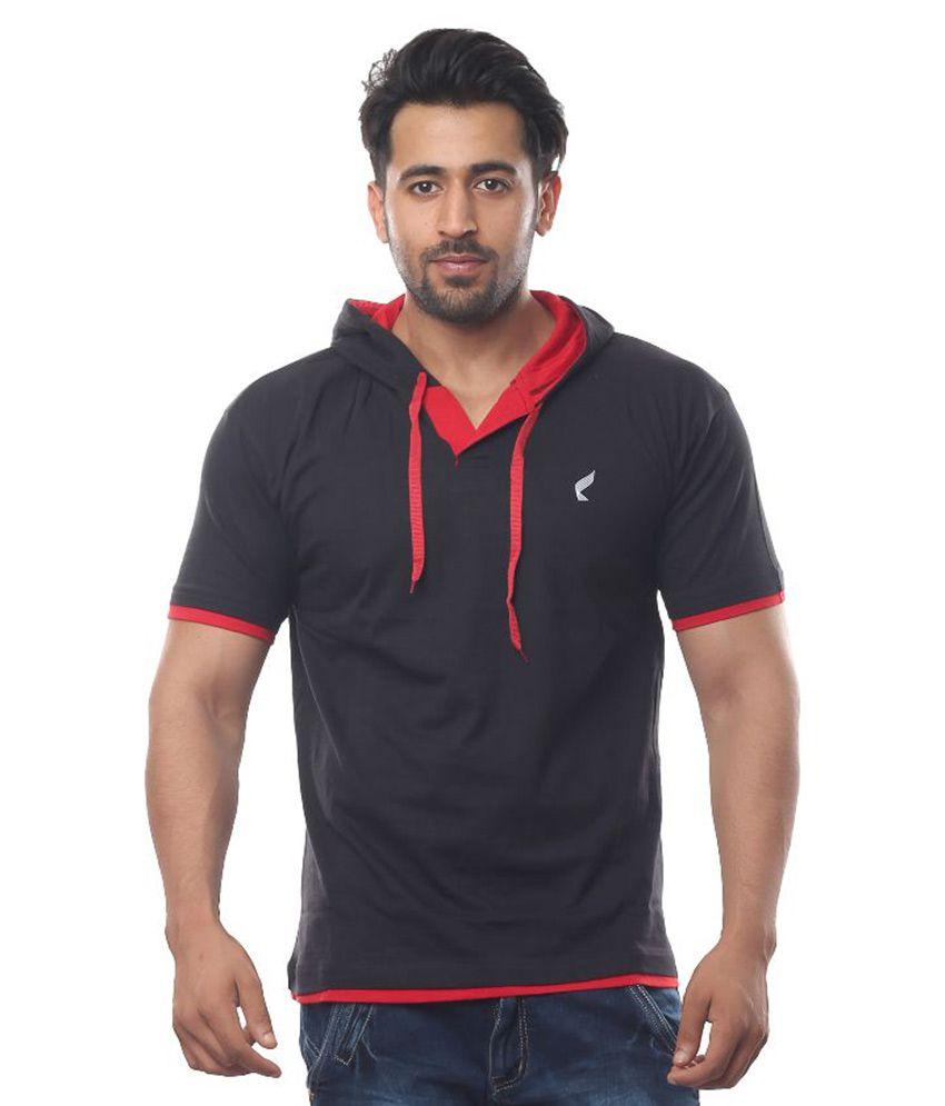 V3Squared Black Hooded T Shirt