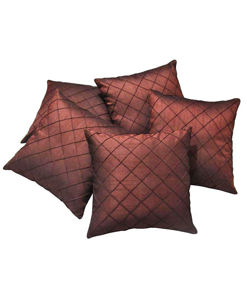 Zikrak Exim Brown Embroidery Polyester Cushion Cover With Filler - Set Of 5