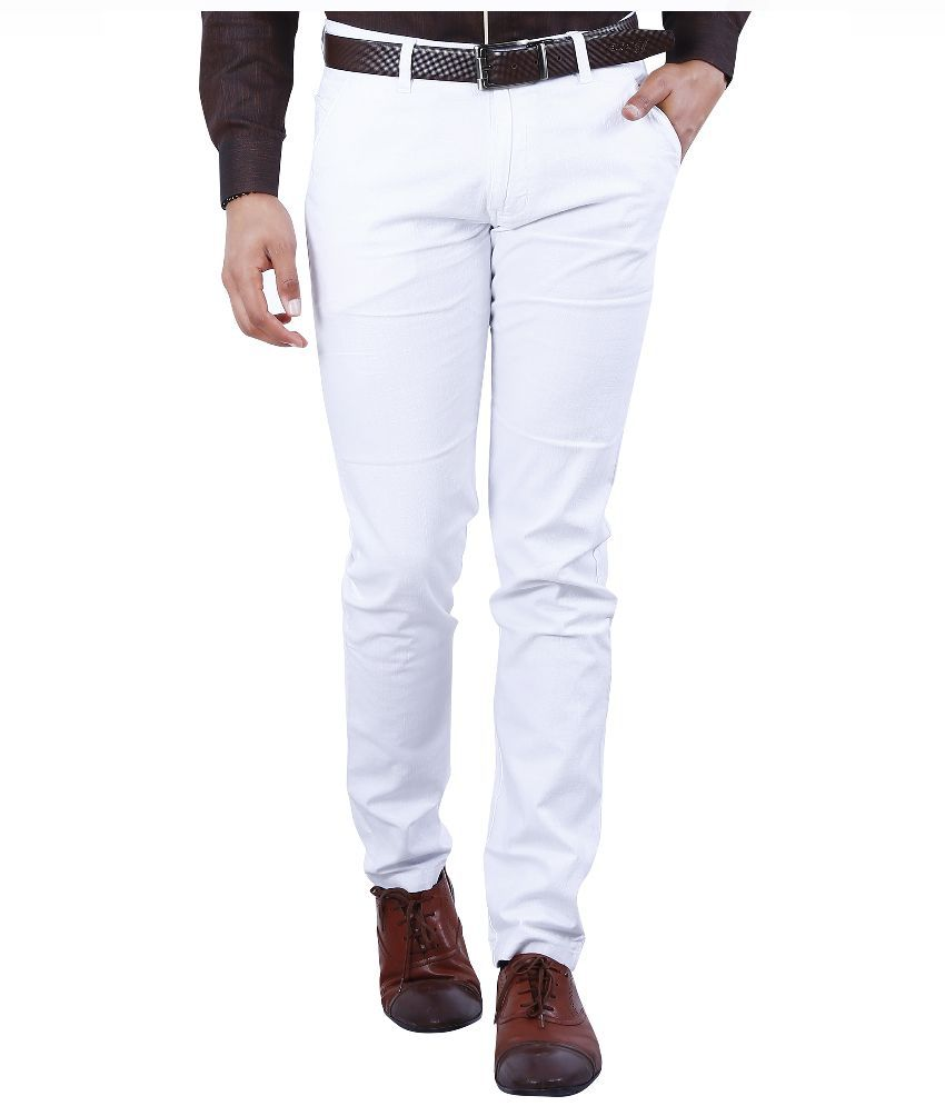Crocks Club White Slim Fit Flat Trousers