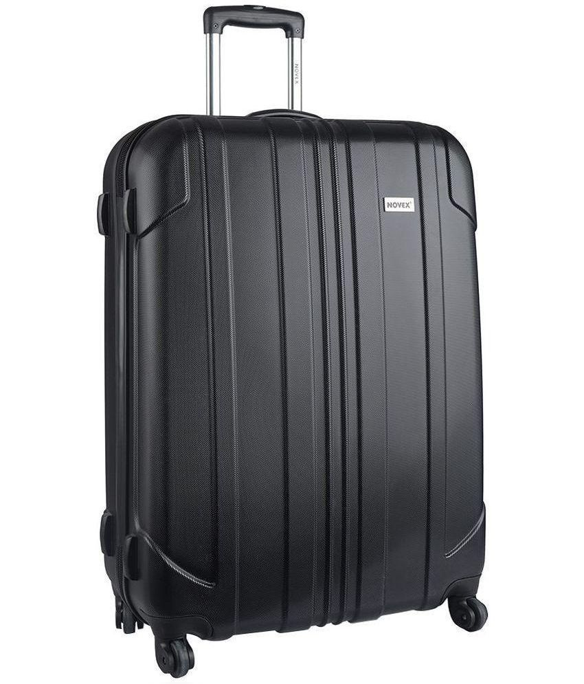 novex large 70 cm above 4 wheel hard black luggage trolley buy novex large 70 cm above. Black Bedroom Furniture Sets. Home Design Ideas