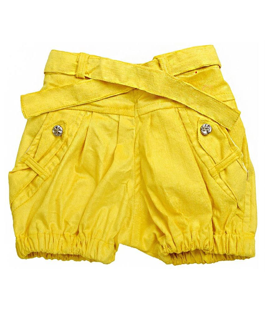 Shreemangalammart Yellow Cotton Shorts For Girls