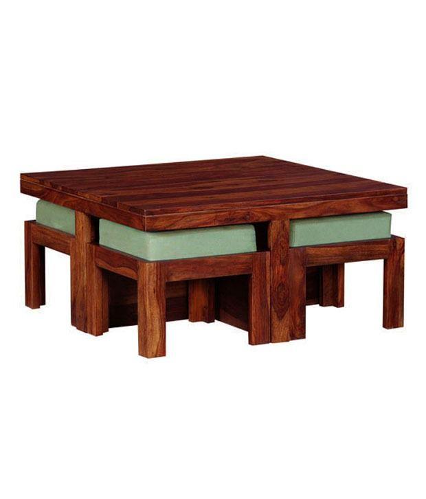 Smart Choice Sheesham Wood Coffee Table with 4 Mini Stools Buy