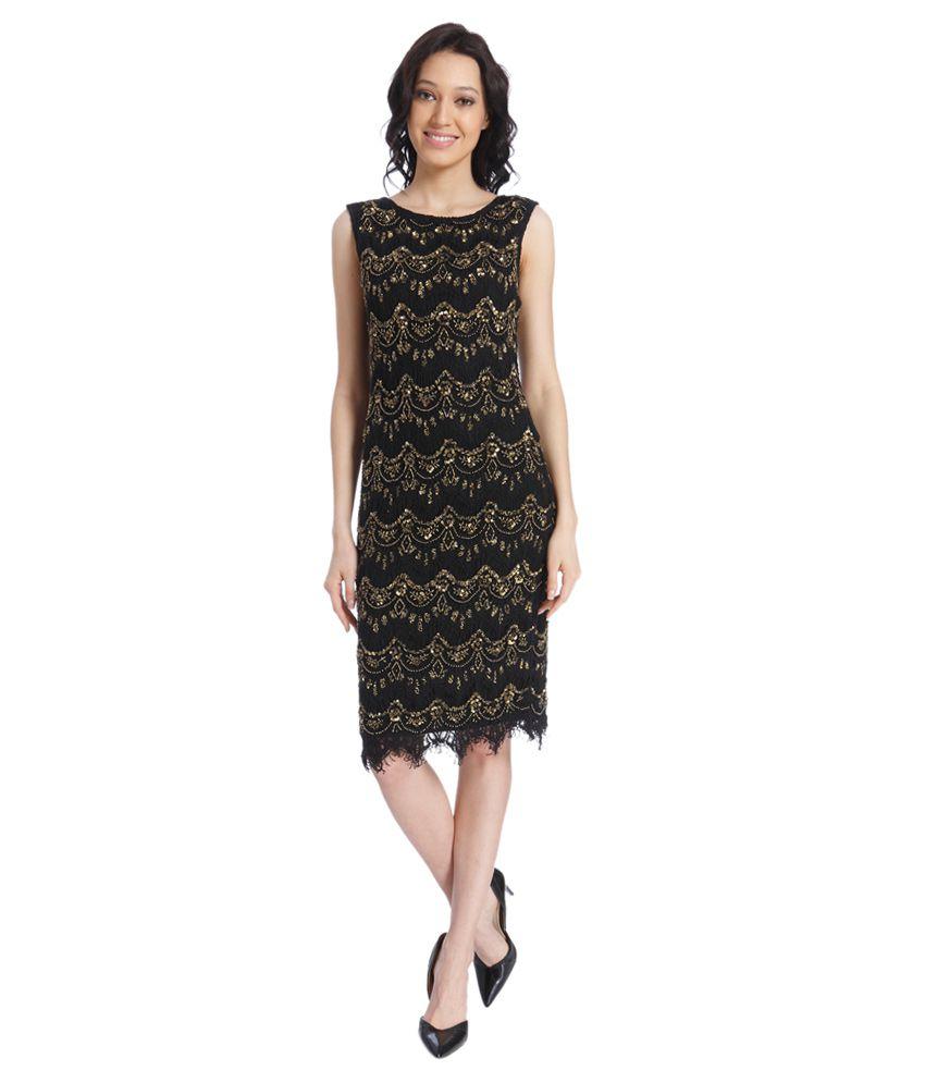 vero moda gold round neck dresses buy vero moda gold. Black Bedroom Furniture Sets. Home Design Ideas