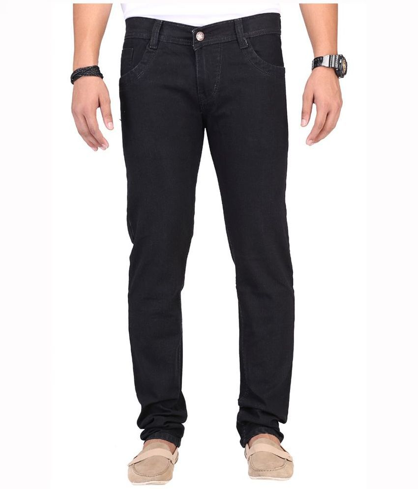 Well Black Regular Fit Solid Jeans