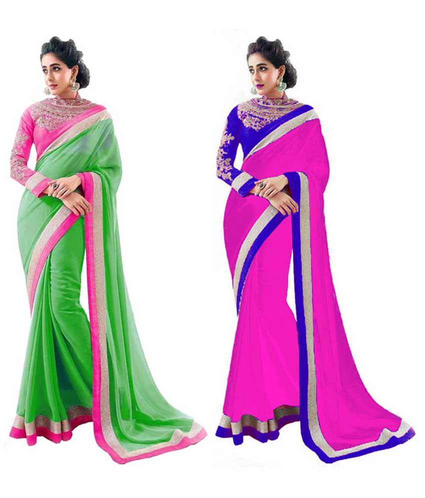 Bhuwal Fashion Multicoloured Chiffon Saree Combos