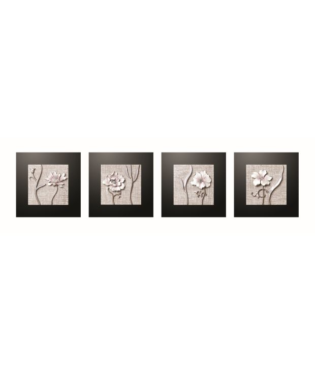 Decals Arts Multicolour 3D Embossed Painting - Set of 4