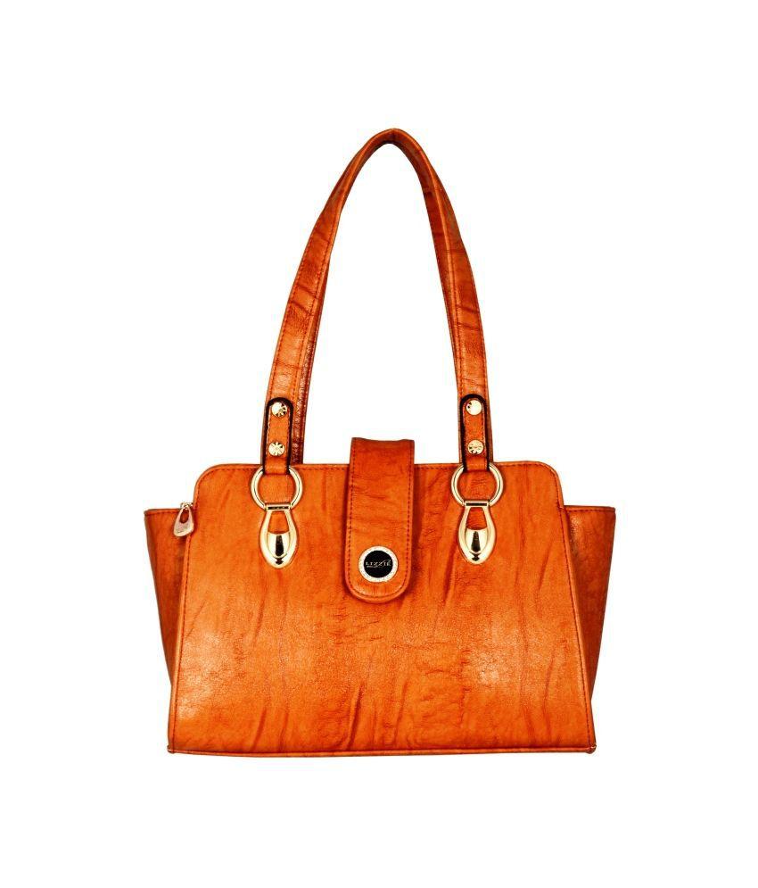 Lizzie Orange P.U. Shoulder Bag