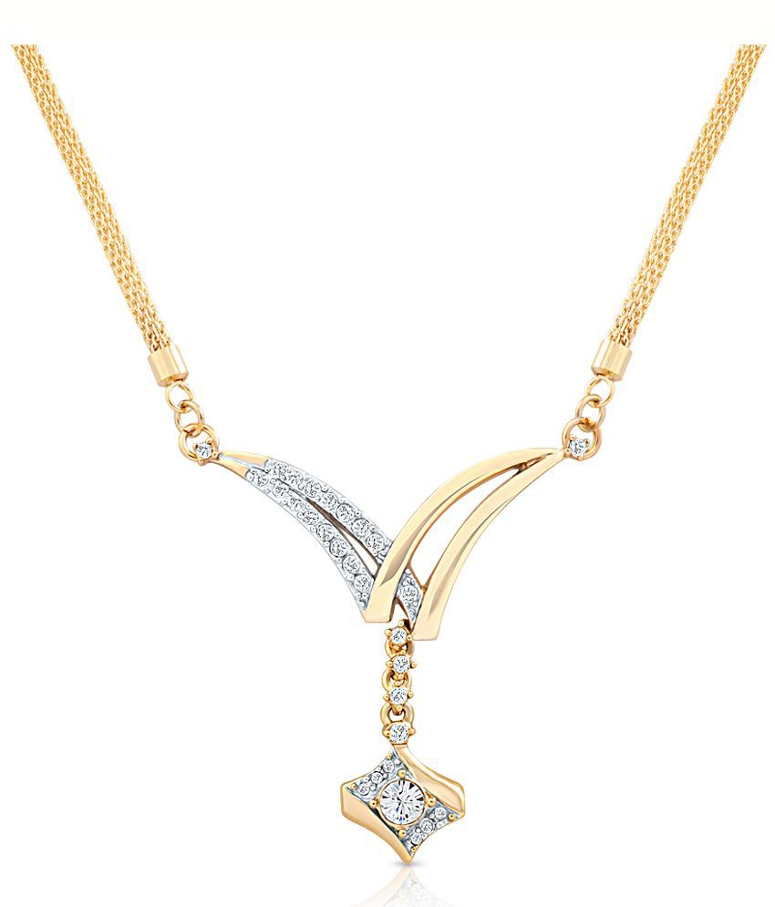 Oviya Golden Necklace With Crystals for Women